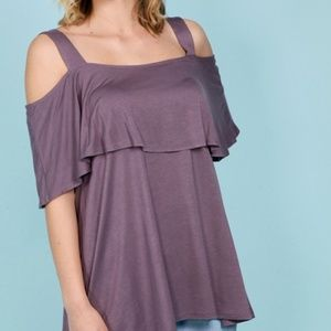 "NWT ""best seller"" layered cold shoulder top"